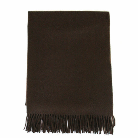 "Hermes Solid Fringed Cashmere ""Etole"" Stole or Throw in Chocolate Brown"