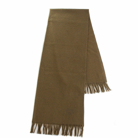 "Hermes Solid Fringed Cashmere ""Etole"" Stole or Throw in Ecorce"