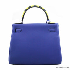 Hermes 28cm Blue Electric Kelly Au Galop Bag w/ Palladium Hardware Limited Edition!