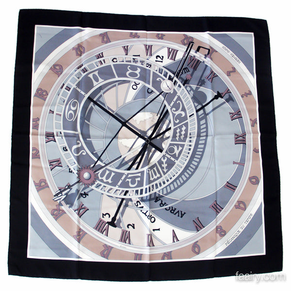 Hermes Mechanique du Temps 90cm Silk Twill Scarf