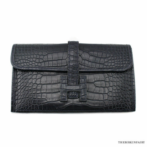 Hermes Blue Indigo Matte Alligator Jige Duo Clutch Wallet