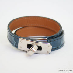 Hermes Blue Jean Alligator Kelly Double Tour Bracelet Size Small
