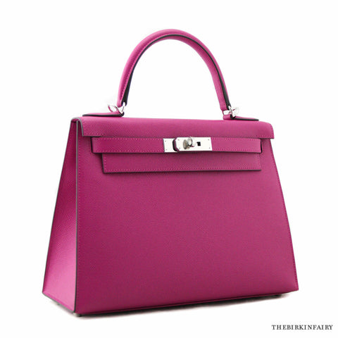 Hermes 28cm Rose Pourpre Sellier Epsom Kelly Bag w/ Palladium NIB!