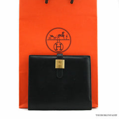 Hermes Cadenas Classique Bi-Fold Box Calf Noir Wallet with Gold Hardware