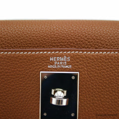 Hermes 32cm Gold Togo Retourne Kelly Bag w/ Palladium Hardware