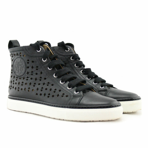 Hermes Jimmy Perforated Black High Top Sneaker with Clou de Selle Logo Size 38