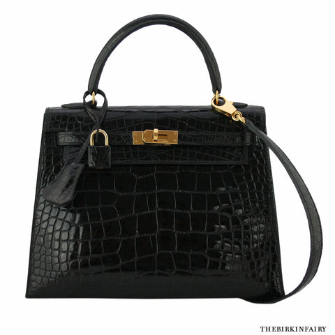 Hermes Black Alligator Lisse 25cm Sellier Kelly Bag w/ Gold Hardware