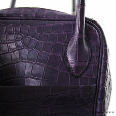 Hermes 30cm Amethyst Purple Matte Alligator Lindy