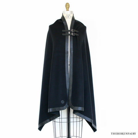 Hermes Black Cashmere Cape with Etriviere Palladium Leather Buckles
