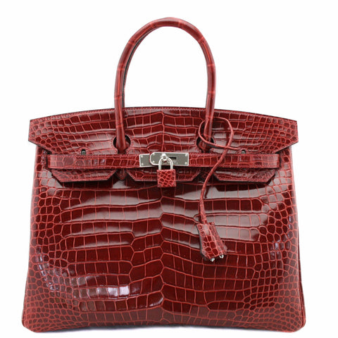 Hermes Rouge H Crocodile Porosus Lisse 35cm Birkin Bag with Palladium Hardware
