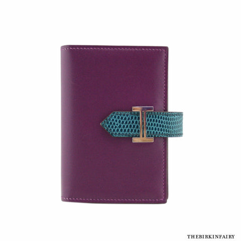 Hermes Violet/Petrol Box Calf and Lizard Bearn Wallet with Palladium Hardware