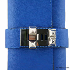 Hermes Blue Zanzibar Chevre Medor 23cm Clutch with Palladium Hardware