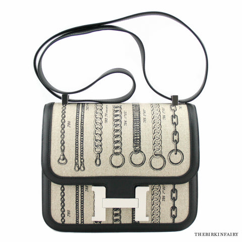 Hermes Dechainee Toile De Camp Black Constance III 24cm Bag w/ Palladium Hardware Limited Edition!