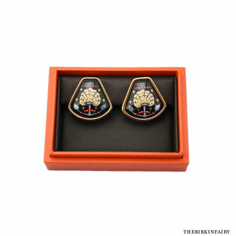 Hermes Black Clip-on Earrings with Box