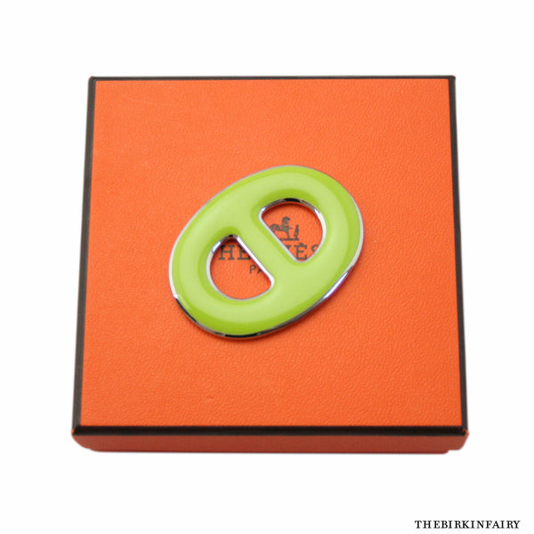 Hermes Lime Green Palladium Chaine d'Ancre Scarf Ring - New w/ Box!