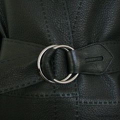 Hermes Black Grained Leather Coat with Adjustable Belt 38