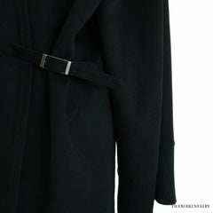 Hermes Double Faced Black Kimono Style Cashmere Coat Size 40