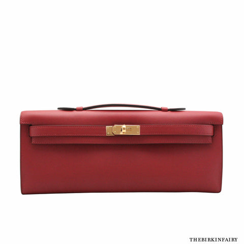 Hermes Kelly Cut Clutch Rouge Grenat w/ Gold Hardware - NEW!
