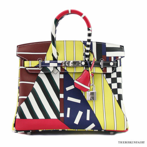 "Hermes Birkin 25 Multicolor Swift ""One Two Three And Away We Go"" Limited Edition By Nigel Peake"