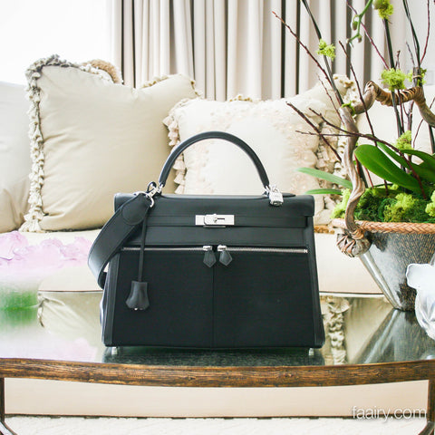 Hermes 35cm Black Box/Canvas Kelly Lakis