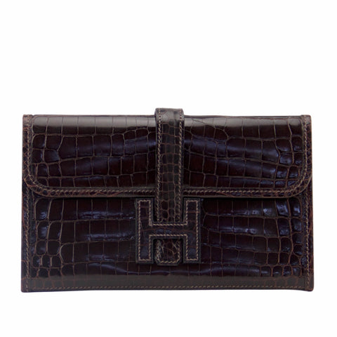 Hermes Cocoan Mini Crocodile Jige Clutch
