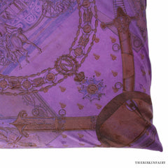 "Hermes Silk Scarf Printed Napoleon 23"" Dip-Dyed Purple Pillow"