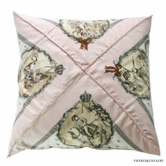 "Hermes Silk Scarf Printed Napoleon 23"" Pink Pillow"