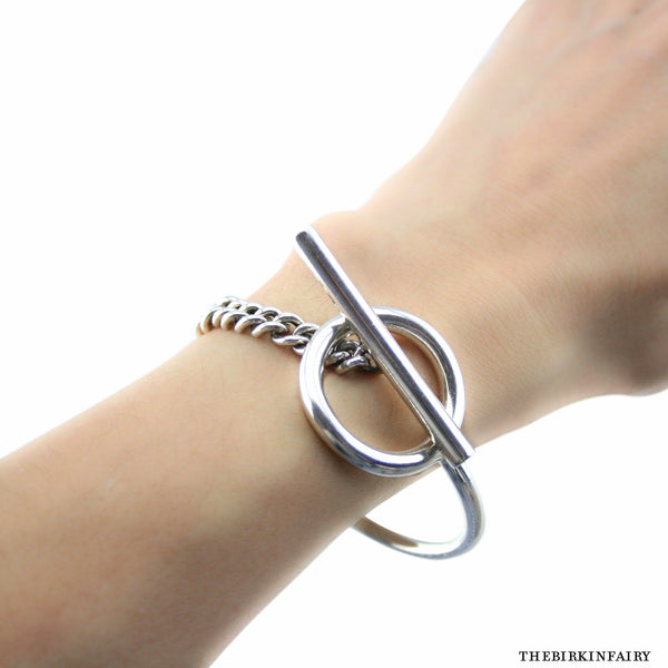 5ad1bff95e1 Hermes Sterling Silver Croisette Toggle Bracelet Size LG – The ...