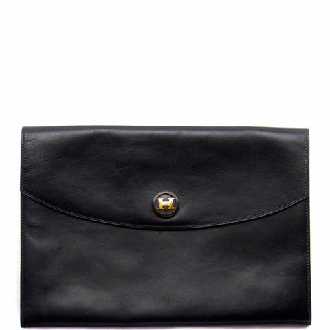 Hermes Black Box Calf Rio Clutch