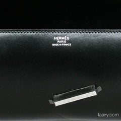 Hermes Egee Clutch in Black Box Calf - Palladium Hardware