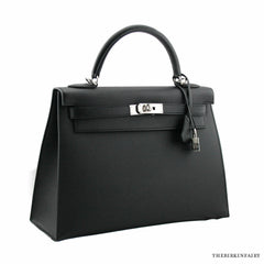 Hermes Black Sellier Epsom Kelly Bag 32cm w/ Palladium Hardware BNIB w/ Receipt!