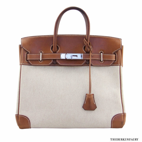 Hermes Haut a Courroies 28cm in Natural Barenia Leather/Toile