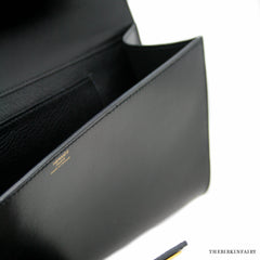 Hermes Box Calf Noir Medor Clutch with Gold Hardware