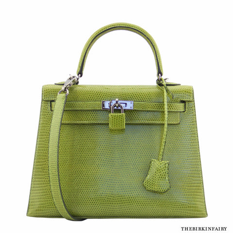 Hermes 25cm Lizard Vert Anis Kelly Rigid Bag with RARE Ruthenium Hardware
