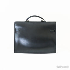 Hermes Kelly Depeche Briefcase - Black w/ Gold Hardware!