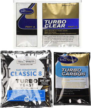 A pack of still spirits turbo clear, turbo carbon and, classic 8 turbo yeast