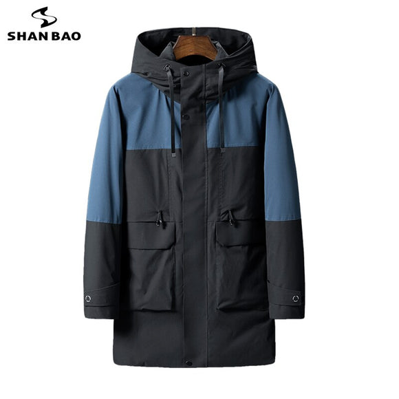 SHAN BAO classic blue and black stitching Long Padded Jacket 2020 winter brand clothing thick and warm high-quality men Parka