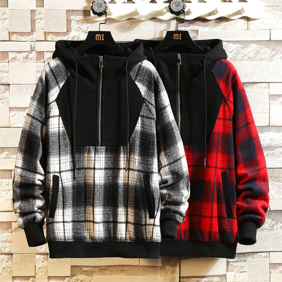 Japan Style Casual O-Neck 2020 Spring Autumn Plaid Hoodie Sweatshirt Men'S Thick Hip Hop Punk Streetwear Clothes W905