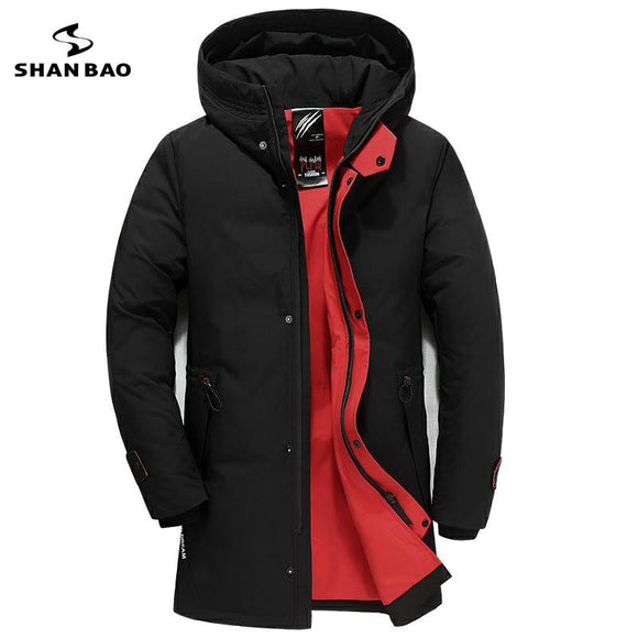 3XL 4XL 5XL 6XL large size men's casual down jacket 2019 winter new thick warm white duck down long hooded down jacket black red