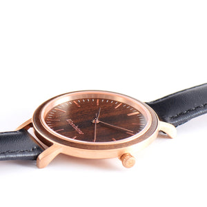 Serenity Black Sandalwood - Rose Gold Women's Wooden Watch Side