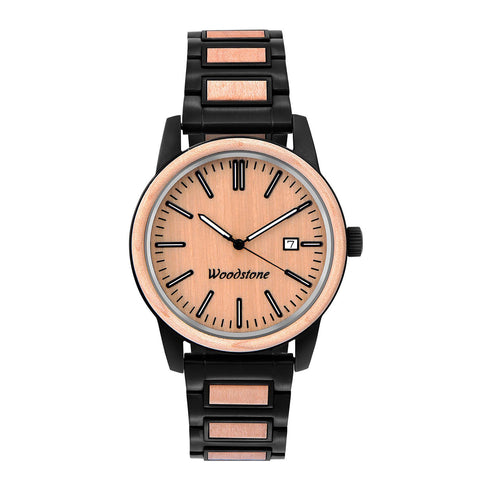 craftmaster stainless steel and wood watch