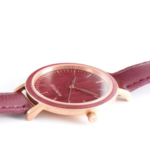 Woodstone Serenity Purpleheart Women's Wooden Watches - Rosegold Side