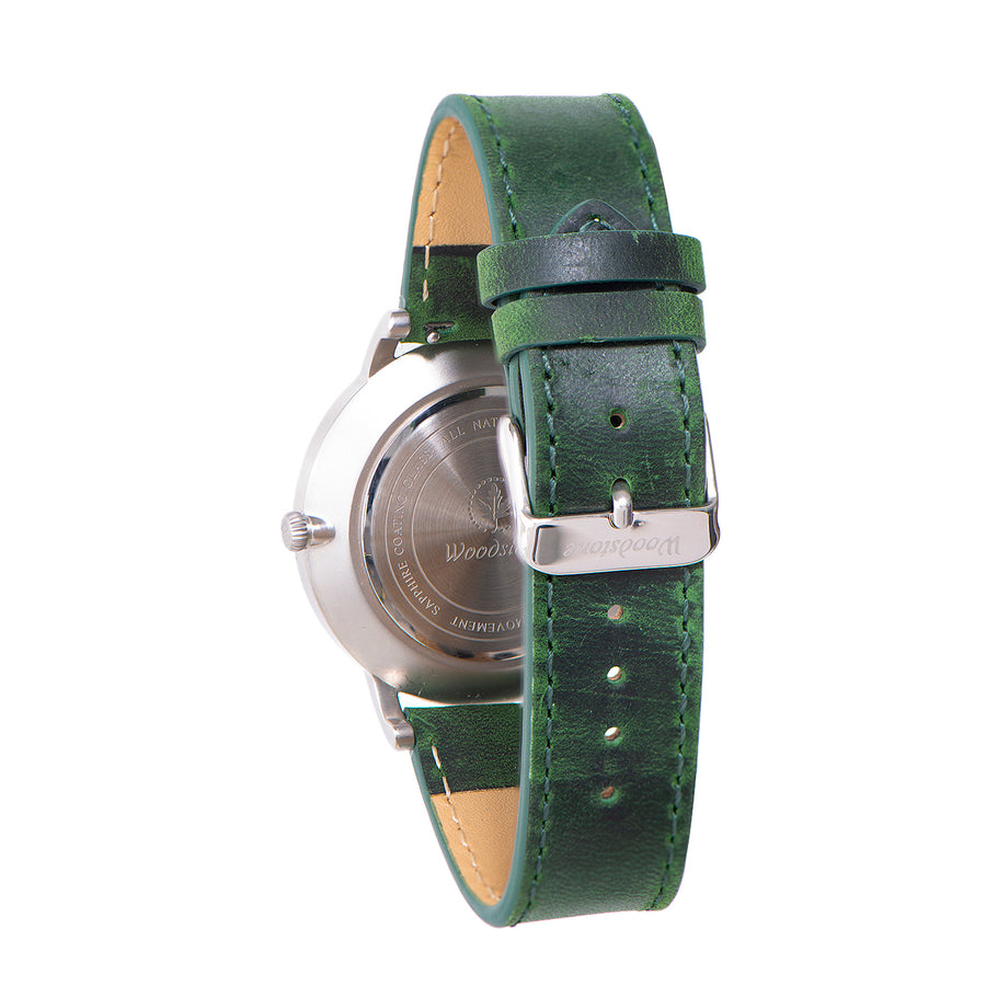 Florence green sandal wood watch silver