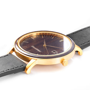 Florence black sandal wood watch gold