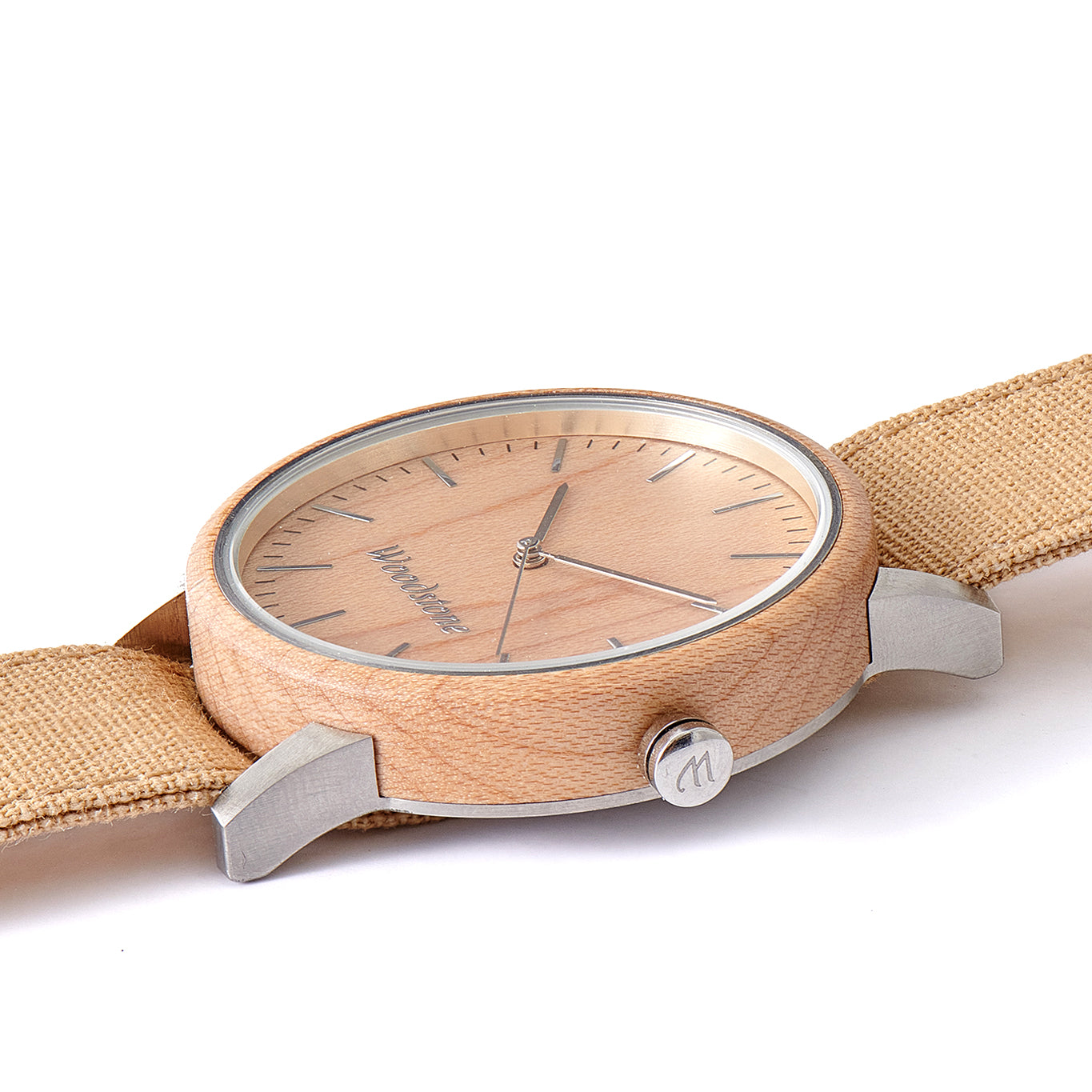 Troy Maple Wood Canvas Mens Wooden Watch Side
