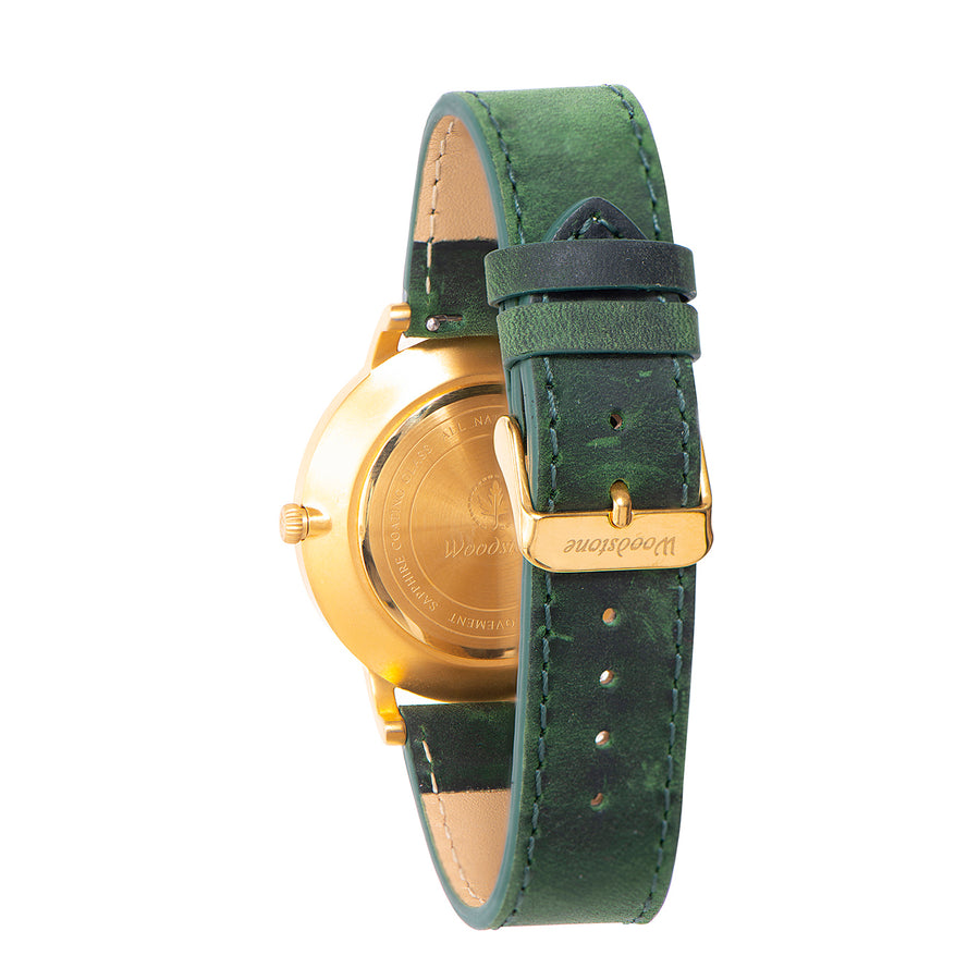 Florence green sandal wood watch gold