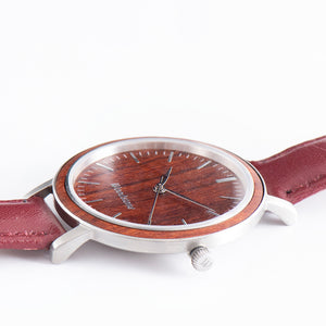 Woodstone Serenity Rosewood Women's Wooden Watches - Silver Side