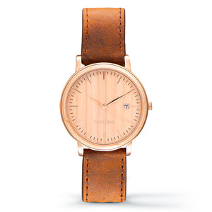 Florence maple wood watch rose gold