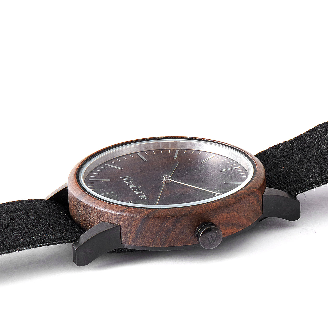 Troy Black Sandalwood Canvas Strap Wooden Watch
