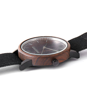 Troy Black Sandalwood Canvas Wooden Watch Side